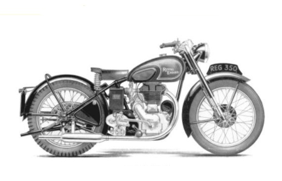 Oljeläckage på Royal Enfield model G från 1951