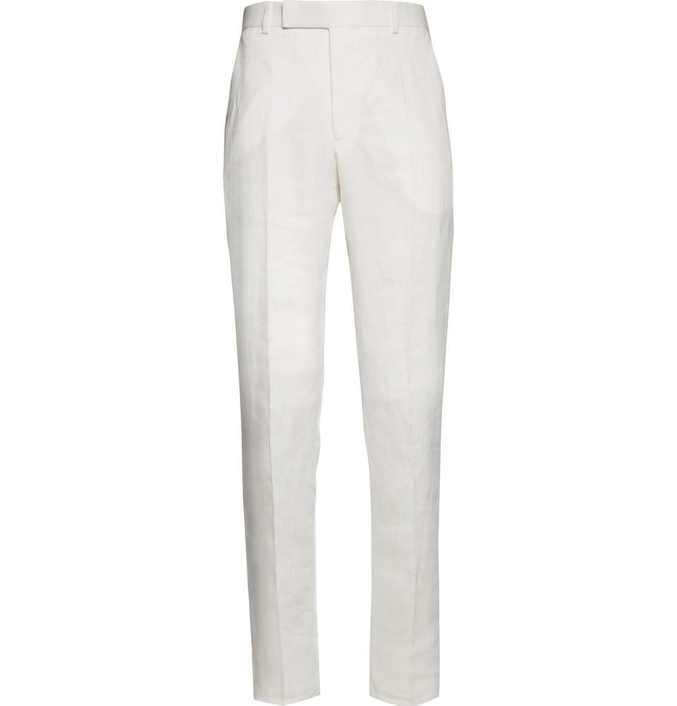 vita byxor med hög midja