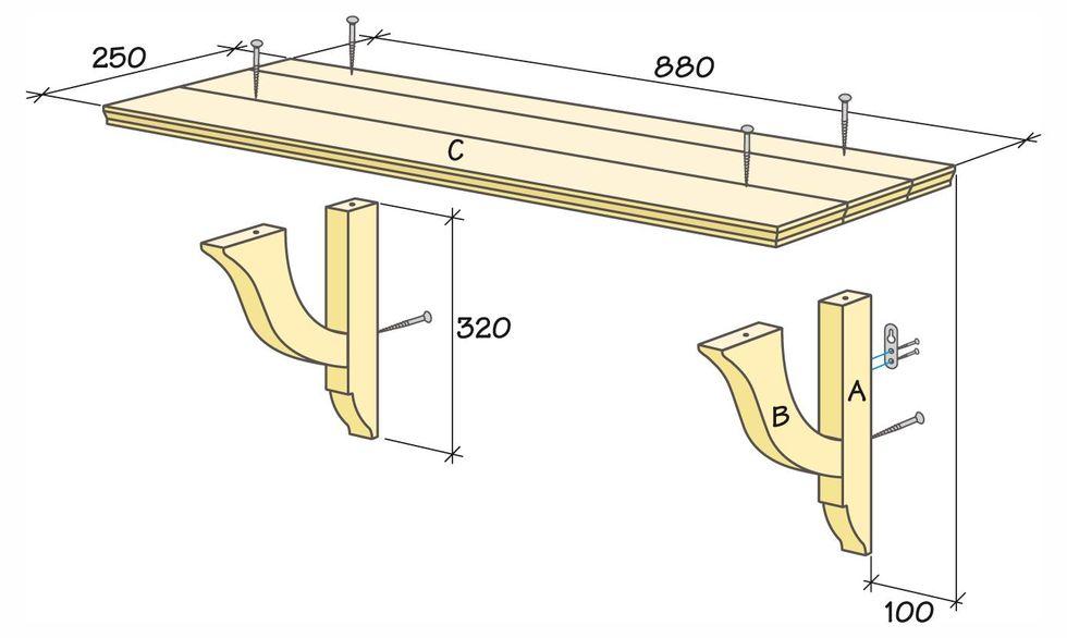 platsbyggd bänk ritning ~ bygg en gammaldags hylla till köket  hus & hem