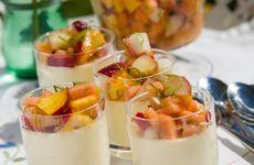 Citronpannacotta med persikosalsa