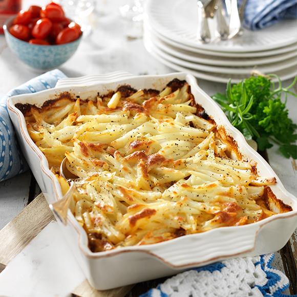 lyxig köttfärs och potatisgratäng