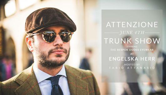 Engelska Herr håller Trunk Show med TBD Eyewear