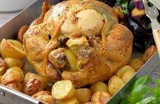 Helstekt kyckling med örtsmör
