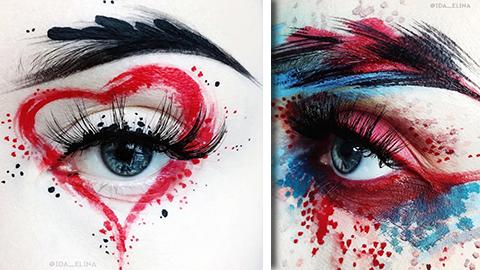 Ida från Finland använder ansiktet som målarduk!