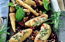 Ädelostgratinerad Quorn med rostad rotfruktssallad