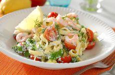 Festligt med pasta och räkor i veckans meny