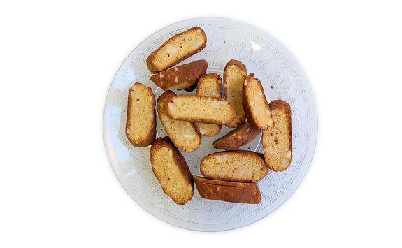 Baka mandelbiscotti packade med protein