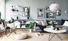 Så här snyggt blir det med svart och vitt  mot vilsamt grå väggar
