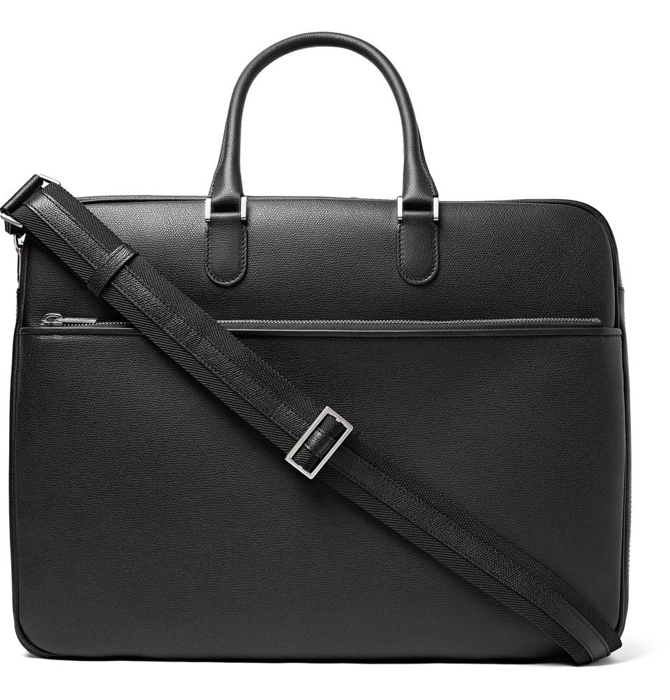 Lyxiga väskspecialisten Valextra har här en portfölj med dubbla fack i svart  präglad kalv. 4b87cc4da25e6