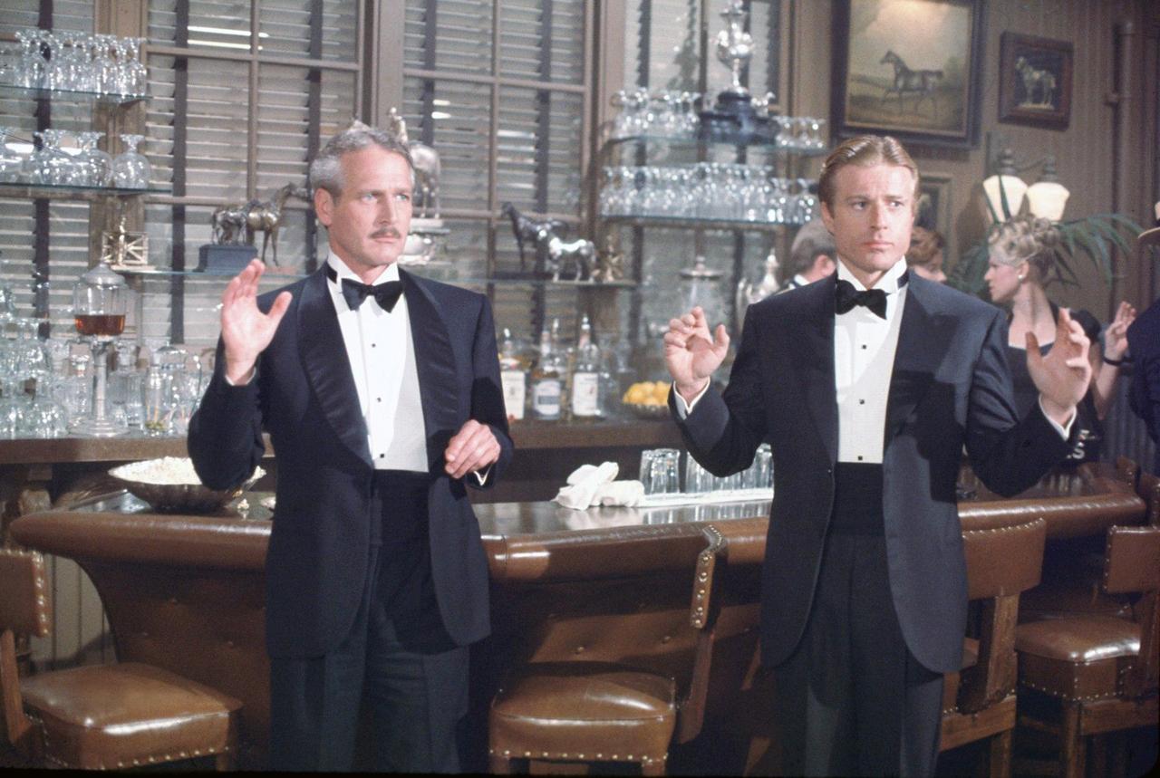 Sjal- respektive och spetsiga slag i enkelknäppt utförande på Paul Newman  och Robert Redford i filmen Blåsningen från 1973. c6dc160da6d56