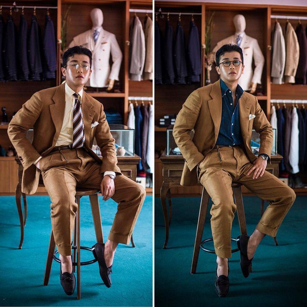 Ett exempel på när både en ljusare och en mörkare skjorta fungerar. Mycket  för att kostymen är mörkare i nyansen men också pga avsaknaden av slips. d8bede97fc69f