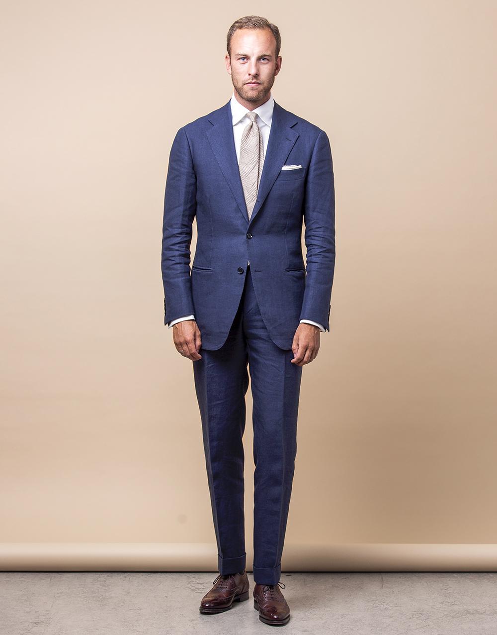 RTW-kostym från Ring Jacket i blått linne från Spence Bryson. 4700c0c3575f7