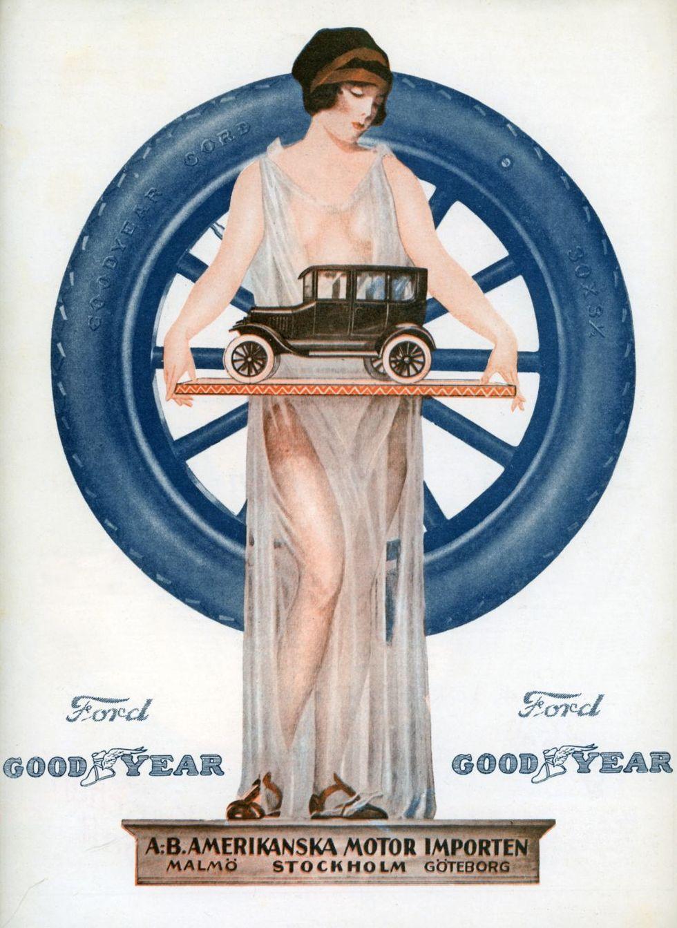 8f7f114a981d Samt konstatera att man kunde vara både mossig och djärv samtidigt redan  1924 när en ung kvinna visar mycket av sig själv medan hon håller fram en  Ford ...