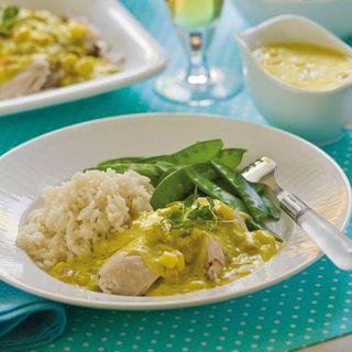 kokt kycklingfile currysås