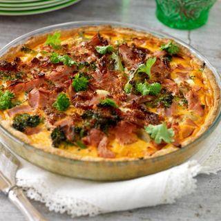 paj med skinka och broccoli
