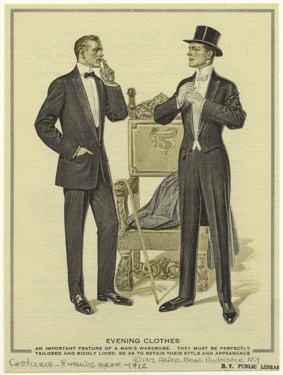 Smoking och frack i en illustration från 1912. 1638840924576