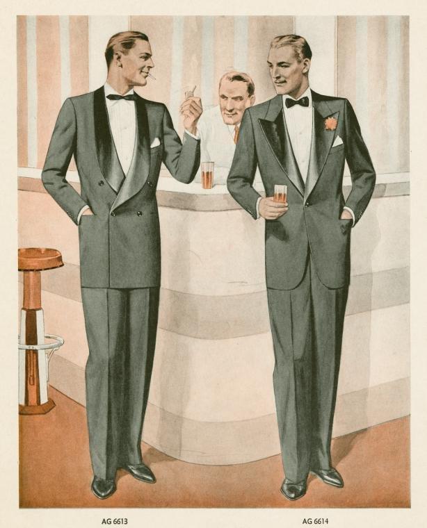 En illustration från 1942 som visa två alternativ av smokingen. Dels den  dubbelknäppta med sjalslag men även den enkelknäppta med spetsiga slag som  kanske ... 82b3b563fecd0
